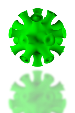 fictitious: Illustration of a fictitious green virus on white background