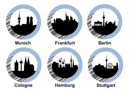ミュンヘン、フランクフルト、ベルリン、ケルン、ハンブルク、シュトゥットガルトのドイツ都市のスカイラインとベクトル アイコンを設定