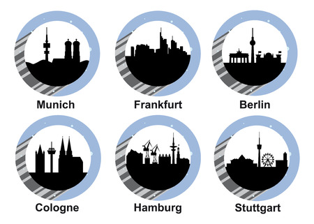 Vector icon set with skyline of German cities Munich, Frankfurt, Berlin, Cologne, Hamburg and Stuttgart Ilustração