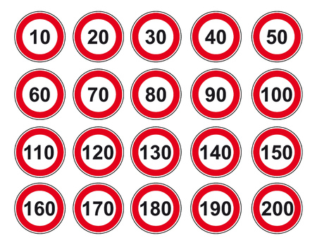 limit: Vector icon set road sign speed limit