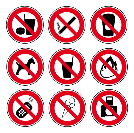 concerning: Vector icon set of forbidden signs concerning burger, drink, cigarette, coffee, dog, fire, cellphone, icecream, photo