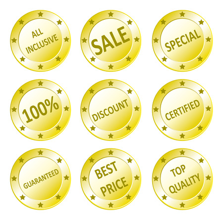 inclusive: Vector icon set of golden quality sale, guaranteed, best price, all inclusive, discount seals