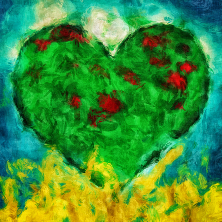 green heart: Graphic illustration of a green heart with blue and golden background