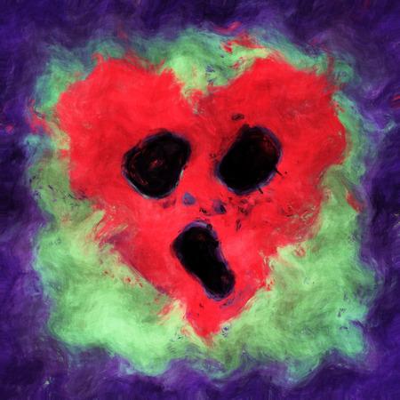 hopeless: Illustration of a hopeless screaming heart Stock Photo