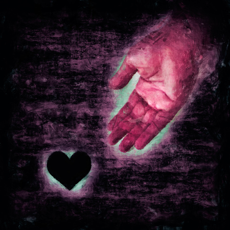 sad heart: Illustration of a hand that helps a lonely, sad heart Stock Photo