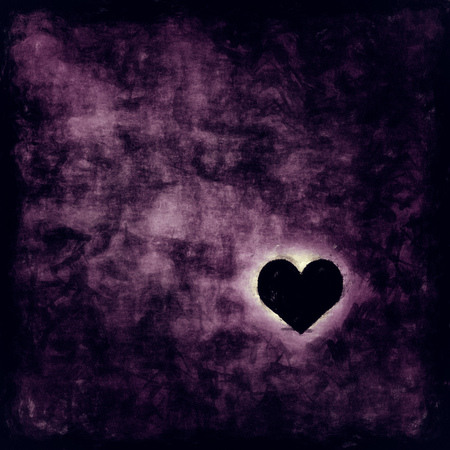 lonely heart: Illustration of a lonely heart in a dark room
