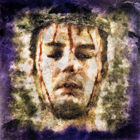 torment: Illustration of a bleeding man with colosed eyes and tortured with a crown of barbed wire. Stock Photo