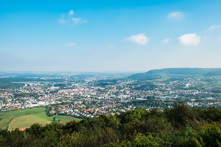 View to the German town Aalen in Summer