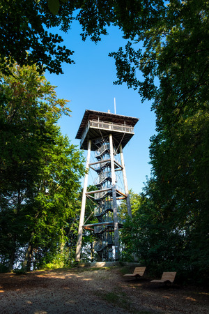 Famous tower Aalbaeumle near Aalen in Germany in summer