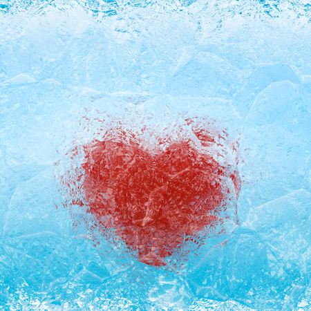 Frozen heart in blue white ice