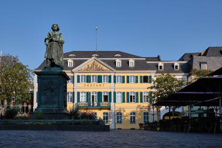 Image of Muensterplatz with old post office and Beethoven statue in Bonn, Germany