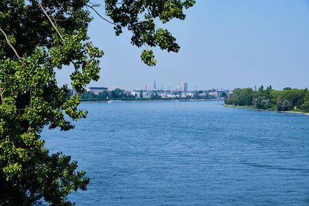 Bank of Rhine with view to city in Bonn, Germany