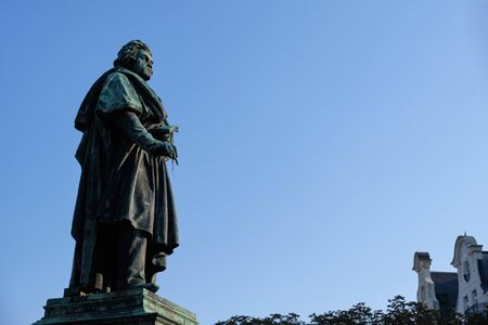 Statue of Ludwig van Beethoven in Bonn, Germany with blue sky in background Stock fotó