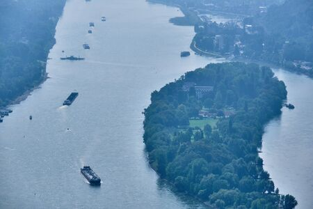 Image of view to river Rhine from the famous mountain Drachenfels in Koenigswinter