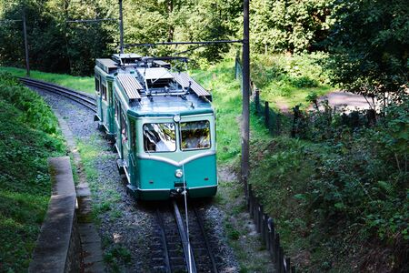 Image of train to the famous mountain Drachenfels in Koenigswinter, Germany in summer