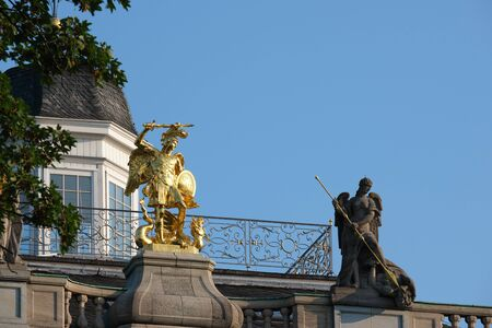Detail image of Koblenzer Tor with golden statue in Bonn, Germany Stock fotó