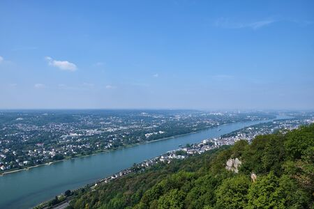 Image of view to city Bonn and river Rhine from the famous mountain Drachenfels in Koenigswinter Stock fotó