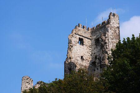 Image of ruin on mountain Drachenfels in Koenigswinter, Germany in summer Stock fotó