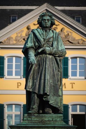 Image of old post office and Beethoven statue in Bonn, Germany Stock Photo