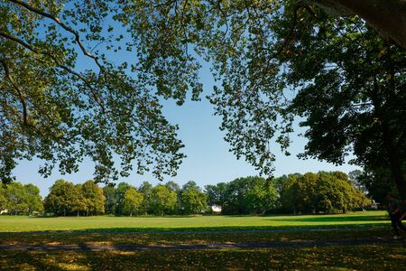 Image of parks with trees and green  meadows Bonn, Germany on a sunny day Stock Photo