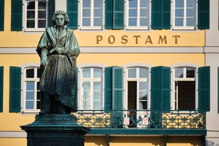 Image of old post office and Beethoven statue in Bonn, Germany 写真素材