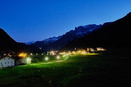 Image of beautiful mountain landscape in Sout Tirol, Italy at night Stock fotó