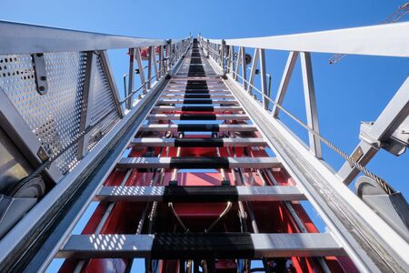 Image of a aerial ladder in South Tirol, Brixen, Italy with blue sky Imagens - 134960836