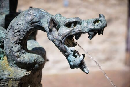 Image of a fountain with dragon head in Brixen, Italy Stock fotó