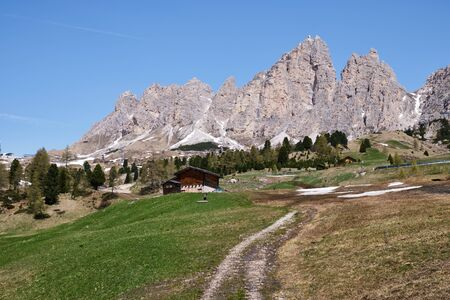 Image of landscape with wild mountains and rocks in South Tirol in Italy in summer
