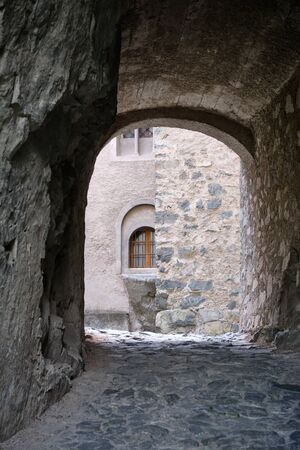 Image of an arch in monastery Saeben in South Tirol Italy