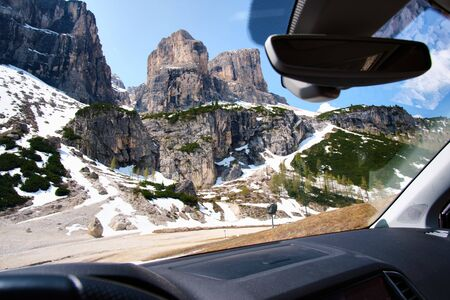 View from car to landscape with wild mountains and rocks in South Tirol in Italy in summer Stock fotó
