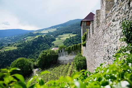 Image of the view from monastery Saeben to landscape in South Tirol Italy Stock fotó