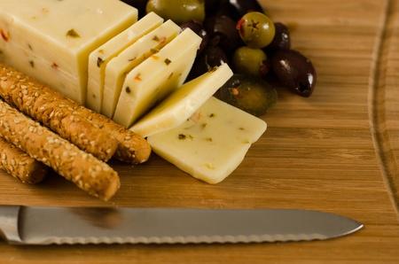 Pepper Jack Cheese, Breadsticks   Olives