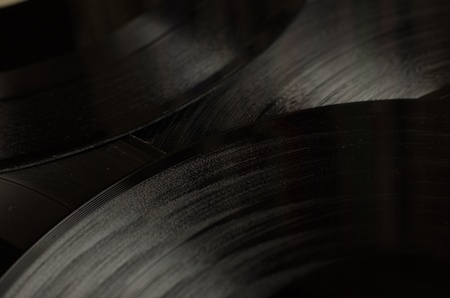 Vinyl Record Grooves reflect the ambient light Stock Photo