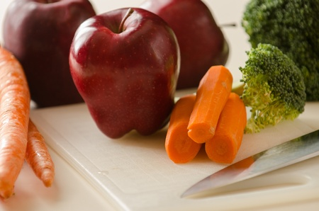 Photo of Apples Carrots and Broccoli ready to make a healthy juice  Stock fotó
