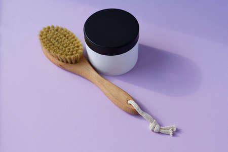 Skin care. Cosmetic product, jar with face mask. Free space for text or logo. a jar of beldi and a crusher drainage brush for body massage mockup, Space for text, Copyspace Stock Photo