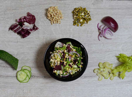 top view of a salad plate of fresh green cucumbers, celery, lettuce, red purple onions, raw buckwheat sprouts, sprouted mung bean. vegan food concept. Salad with vegetables and greens