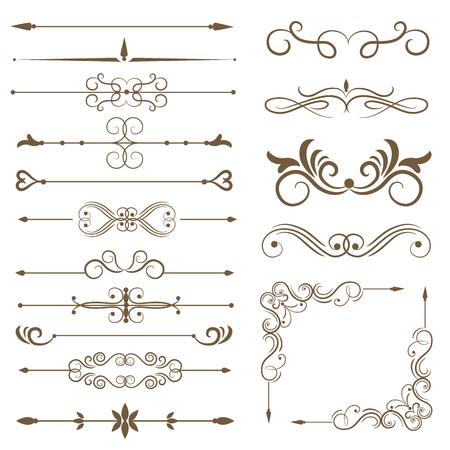 Elementi decorativi antichi, elementi di scorrimento, divisori di pagina impostati. Illustrazione vettoriale Vettoriali