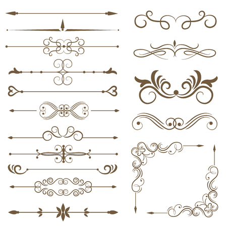 Zabytkowe elementy dekoracyjne, elementy przewijania, zestaw przegródek. Ilustracja wektorowa Ilustracje wektorowe