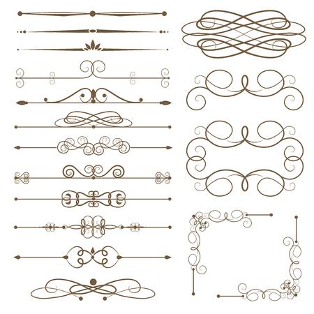 Antique decorative elements, scroll elements, set page dividers. Vector illustration