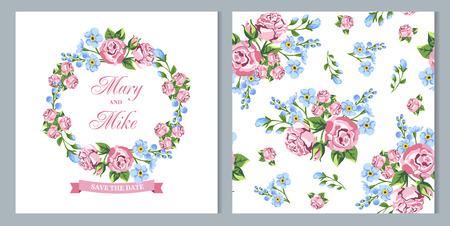 circle flower: Wedding invitation card. Gentle flowers. Vector illustration Illustration