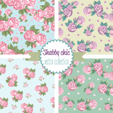 rose: Shabby Chic Rose Patterns. Set seamless pattern. Vintage floral pattern, backgrounds. Vector illustration Illustration
