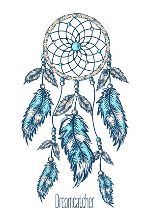 american native: Dreamcatcher, feathers. Hand drawn vector illustration.