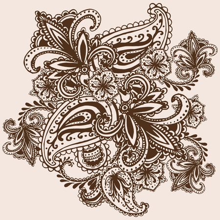 henna pattern: Henna Mehndi Abstract Mandala Flowers and Paisley Doodle Illustration Design Elements
