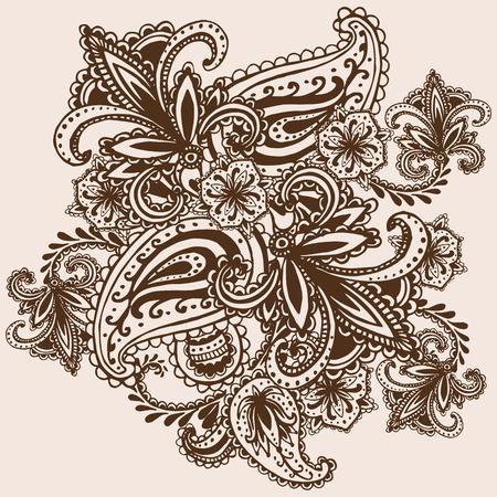 Henna Mehndi Abstract Mandala Flowers and Paisley Doodle Illustration Design Elements