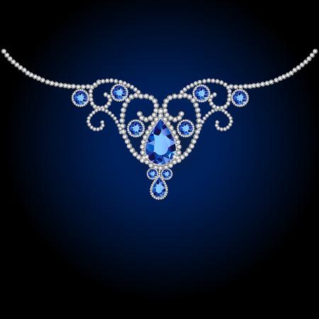 rich couple: jewellery diamond decoration and sapphire. illustration