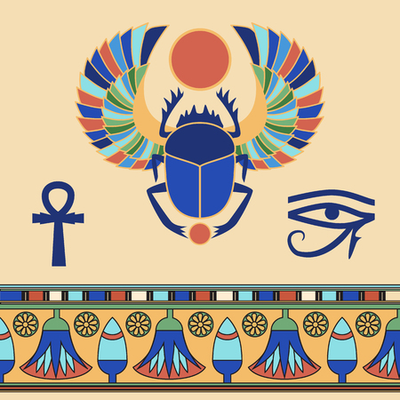 ancient papyrus: Scarab. Egyptian icons. illustration