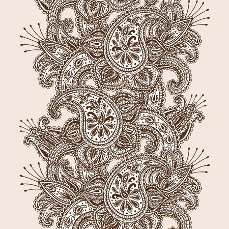 disegni cachemire: Illustrazione Henna Mehndi Mandala astratta Fiori e Paisley Doodle vettoriale disegnato a mano elementi di design