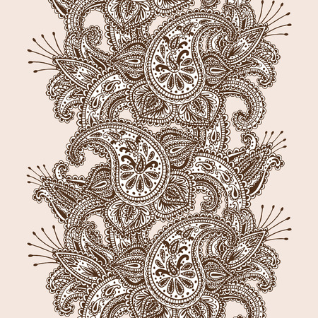 Hand-Drawn Henna Mehndi Abstract Mandala Flowers and Paisley Doodle Vector Illustration Design Elements Illustration