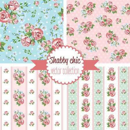 Shabby Chic Rose Patterns. Set seamless pattern. Vintage floral pattern, backgrounds. Vector illustration 일러스트
